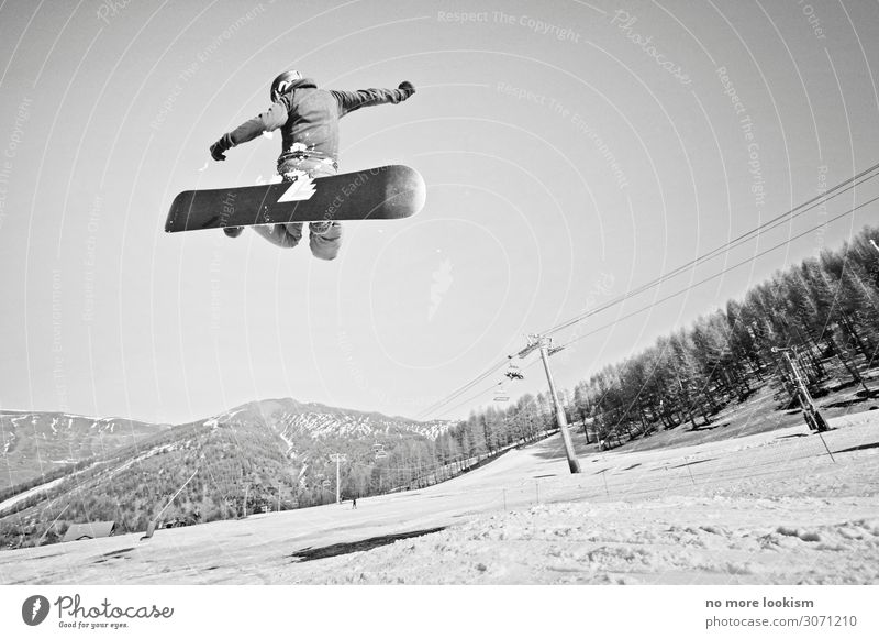 rail and fly Lifestyle Sports Winter sports Snowboard Ski run Alps Mountain Peak Helmet Freedom Tourism Vacation & Travel Jump Flying Snowboarding Snowboarder