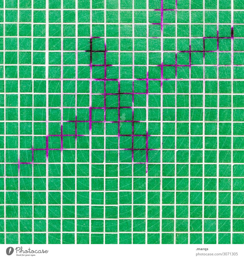 reference date Wall (barrier) Wall (building) Mosaic X Crucifix Characters Green White Elections Date Colour photo Exterior shot Detail Abstract Pattern