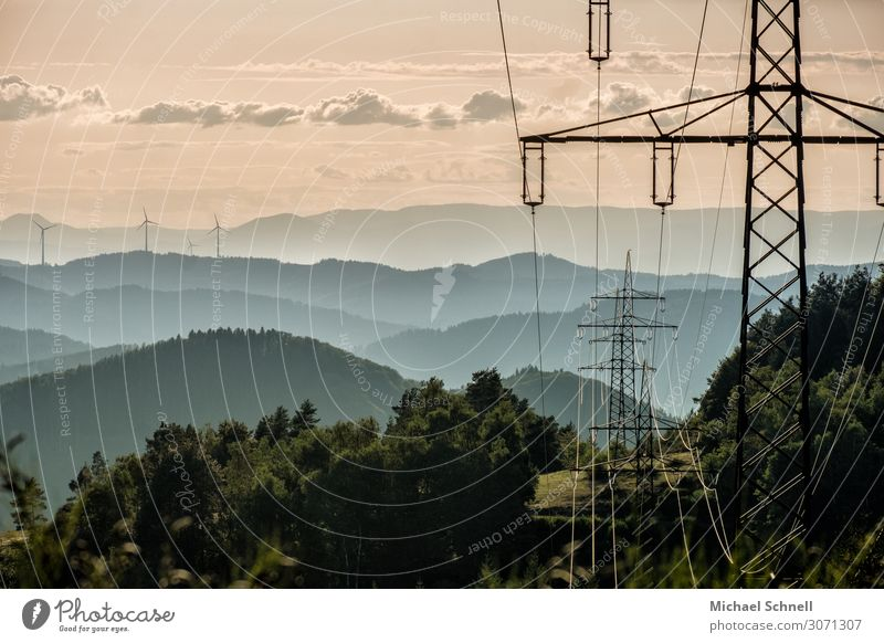 Electricity over the Black Forest Energy industry Wind energy plant Electricity pylon Environment Nature Landscape Complex Competition Colour photo