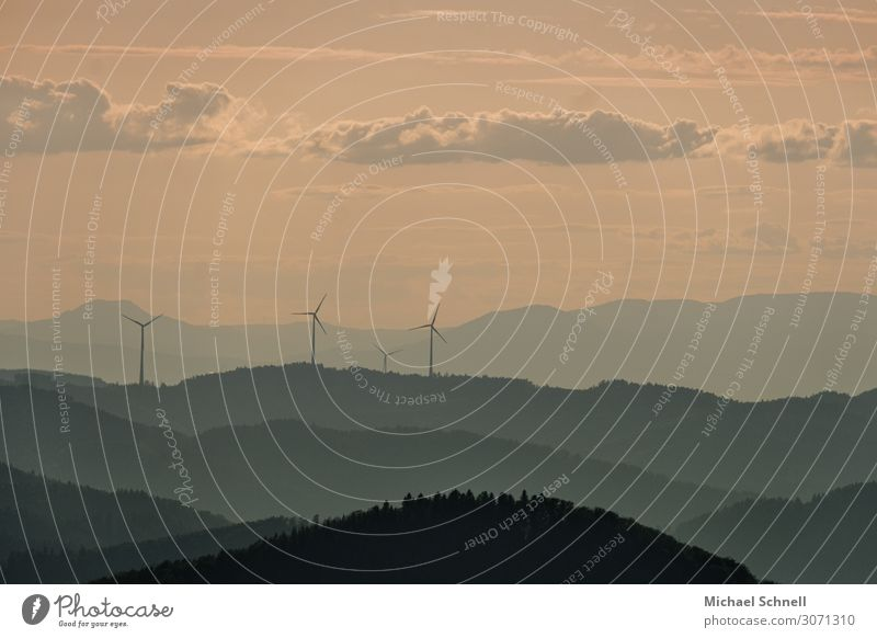 Black Forest landscape Energy industry Wind energy plant Environment Nature Landscape Sky Beautiful weather Mountain Calm Sustainability Vantage point