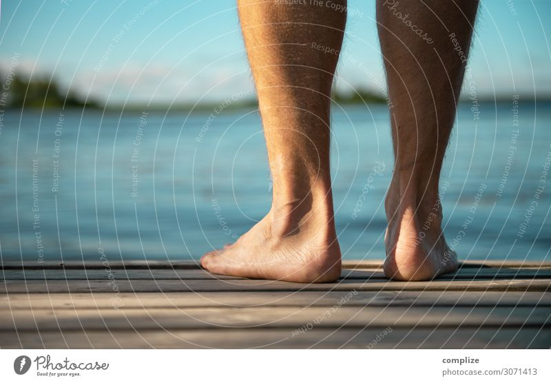 Man standing barefoot on a wooden walkway Healthy Health care Alternative medicine Athletic Wellness Well-being Relaxation Spa Sauna Swimming & Bathing Summer