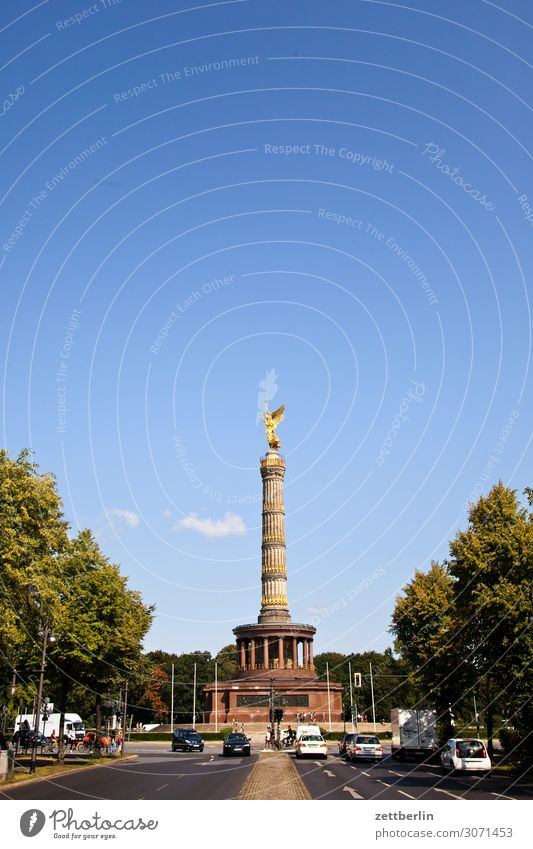Victory Column in the Berlin Tiergarten Monument Germany else Closing time Figure Goldelse victory statue big star Capital city Tourism Downtown Berlin