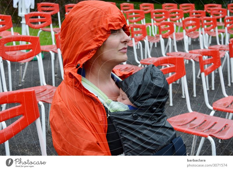 Woman Human being Adults Environment Orange Moody Rain Park Sit Baby Wait Mother Chair Event Concert Anticipation