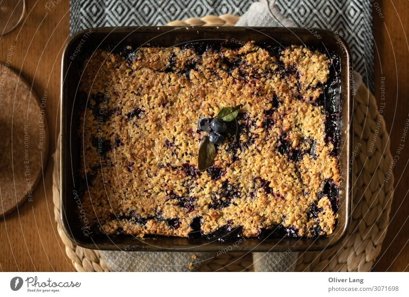 Blueberry Crumble Flat Lay Food Fruit Dough Baked goods Cake Candy Eating Vegetarian diet Kitchen Berries Dessert Oven dish Placemat Vegan diet Delicious