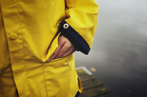 fisherman's girlfriend 1 Human being Climate Weather Bad weather Storm Wind Gale Rain Thunder and lightning Lakeside Fashion Clothing Protective clothing Coat