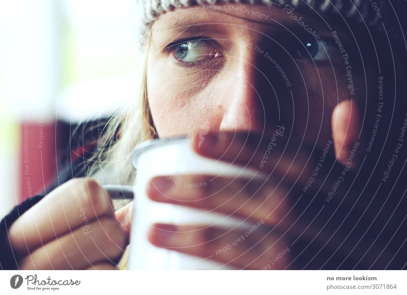 Human being Youth (Young adults) Relaxation 18 - 30 years Face Eyes Adults Autumn Contentment Nutrition Hiking Idyll To enjoy Break Coffee Beverage