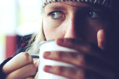 the quiet life Nutrition Breakfast To have a coffee Beverage Drinking Hot drink Hot Chocolate Coffee Tea Cup Mug Face Eyes 1 Human being 18 - 30 years