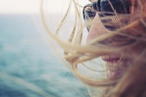 days in daze Feminine Hair and hairstyles 1 Human being Sunlight Weather Beautiful weather Coast Baltic Sea Ocean Lake Sunglasses Blonde Smiling Laughter Brash