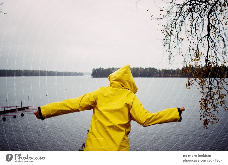 high your hands, weekend 1 Human being Nature Water Climate Weather Bad weather Storm Wind Gale Rain Thunder and lightning Forest Lakeside Beach Bay Raincoat
