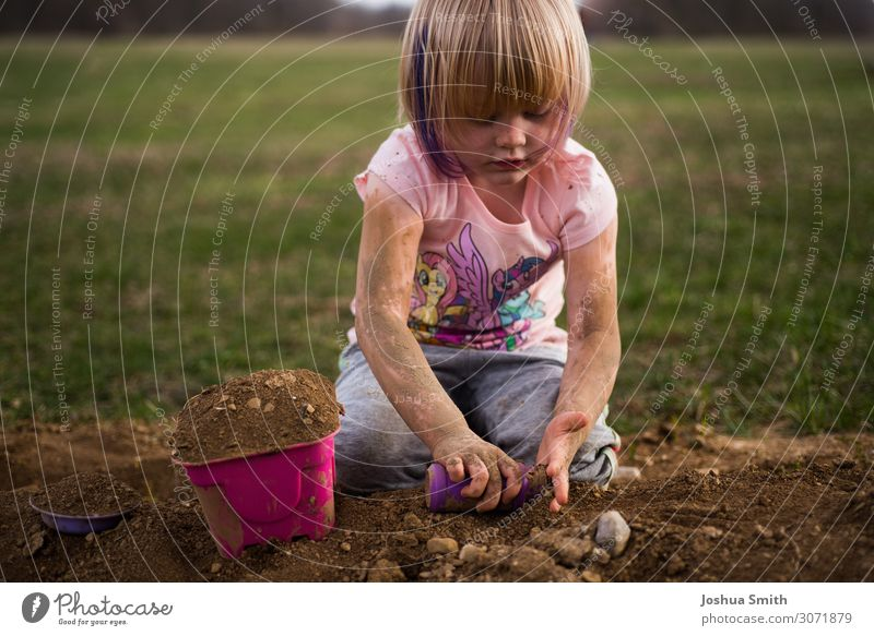 Playing in the mud Human being Toddler Girl Life 1 1 - 3 years 3 - 8 years Child Infancy Nature Elements Earth Spring Summer Autumn Grass Toys Simple Happiness