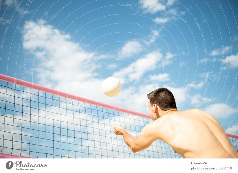 Man plays beach volleyball - ball just before impact Volleyball Volleyball net out Sports Athletic sports activity Sportsperson Sky Net Clouds being out