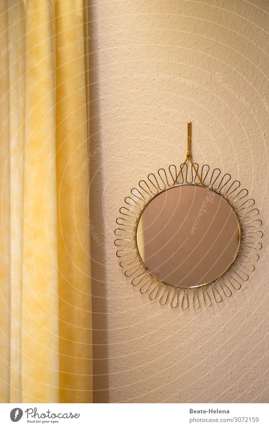 Mirror, mirror on the wall ... Lifestyle Beautiful Living or residing Interior design Decoration Drape Kitsch Odds and ends Looking Yellow Gold Emotions Moody