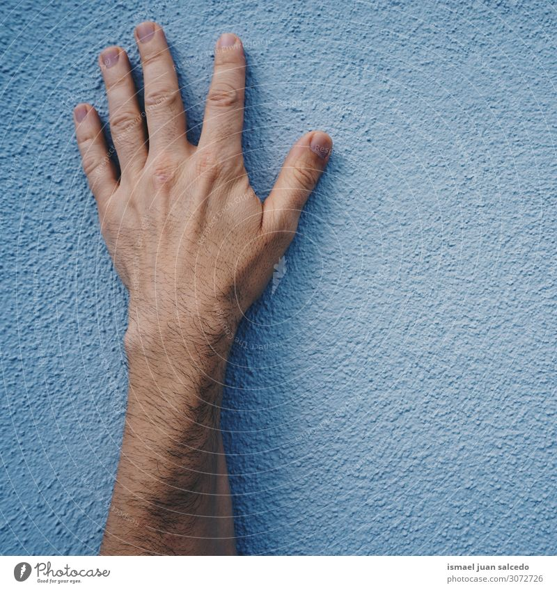 man hand on the blue wall in the street Human being Blue Hand Street Background picture Wall (building) Body Skin Arm Fingers Symbols and metaphors