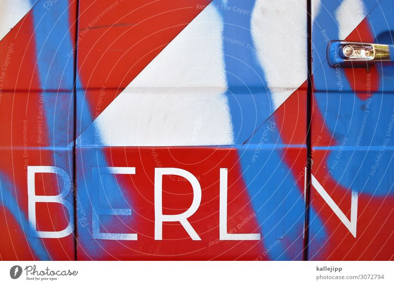 dit is berlin Art Town Red Car Car door Vandalism Destruction Door handle Graffiti Stripe Illegal Colour photo Exterior shot