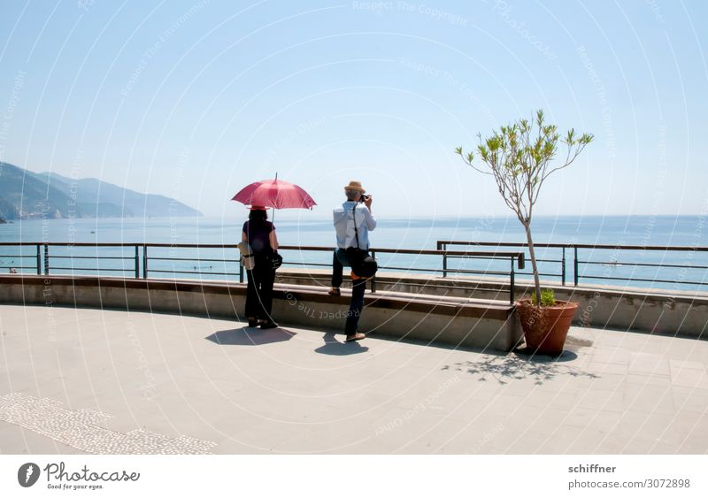 Woman Human being Vacation & Travel Man Summer Ocean Adults Couple Tourism In pairs 45 - 60 years Beautiful weather Handrail Summer vacation Cloudless sky