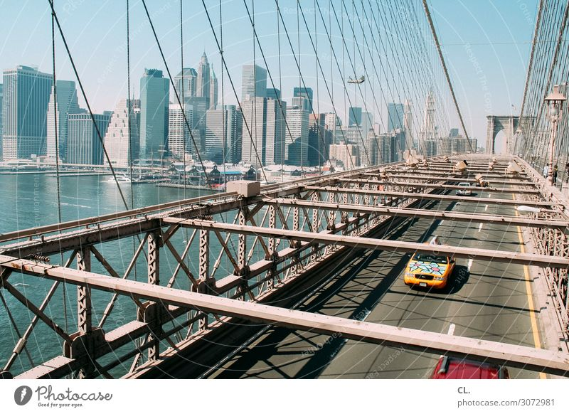 on the brooklyn bridge. Vacation & Travel City trip Cloudless sky Beautiful weather River New York City Manhattan Brooklyn Bridge USA Town Skyline High-rise