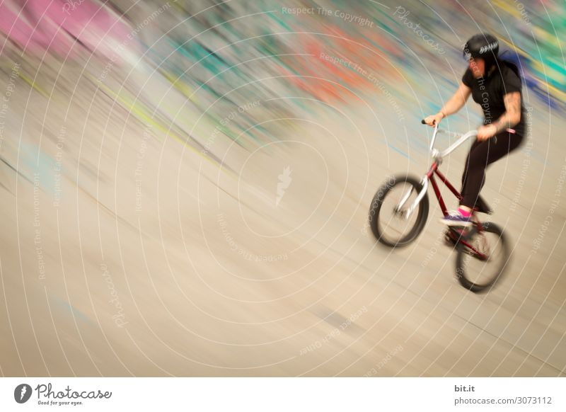 Human being Youth (Young adults) Young woman Joy Feminine Happy Contentment Bicycle Happiness Joie de vivre (Vitality) Halfpipe