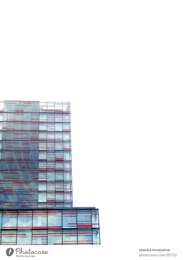 Red Tower High-rise White Reflection Clouds Facade Architecture Hamburg Sky Modern Glass ...