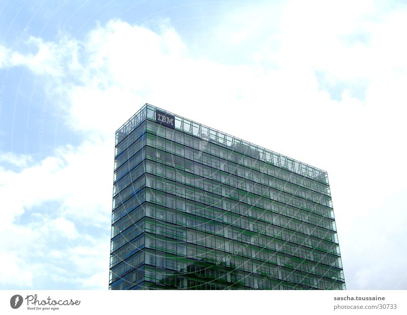 green tower High-rise Green White Clouds Facade Architecture Hamburg IBM Blue Sky Modern Glass ...