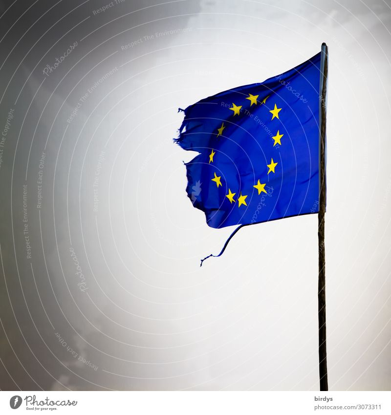 Hard times Air Clouds Storm clouds Bad weather Wind Europe European flag Flagpole Star (Symbol) Authentic Exceptional Broken Rebellious Blue Yellow Gray