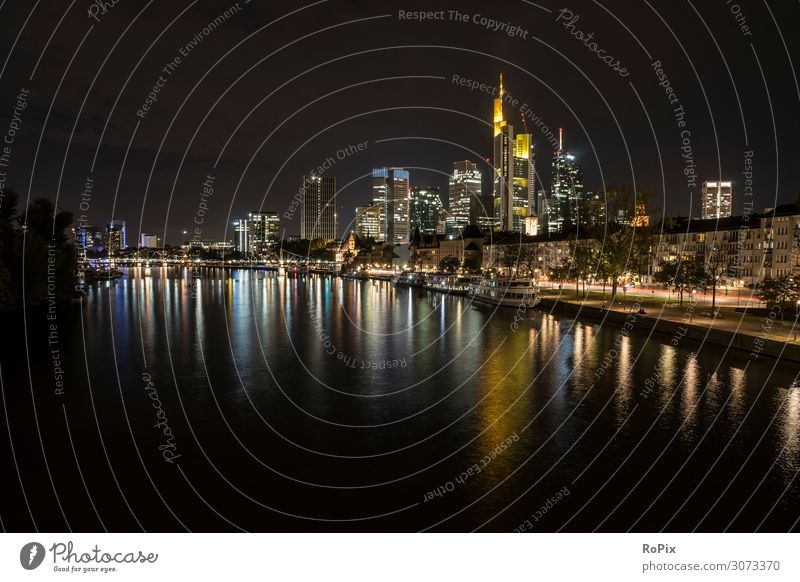 Skyline of Frankfurt. Lifestyle Style Design Vacation & Travel Tourism Sightseeing City trip Night life Work and employment Office Economy Trade Craft (trade)