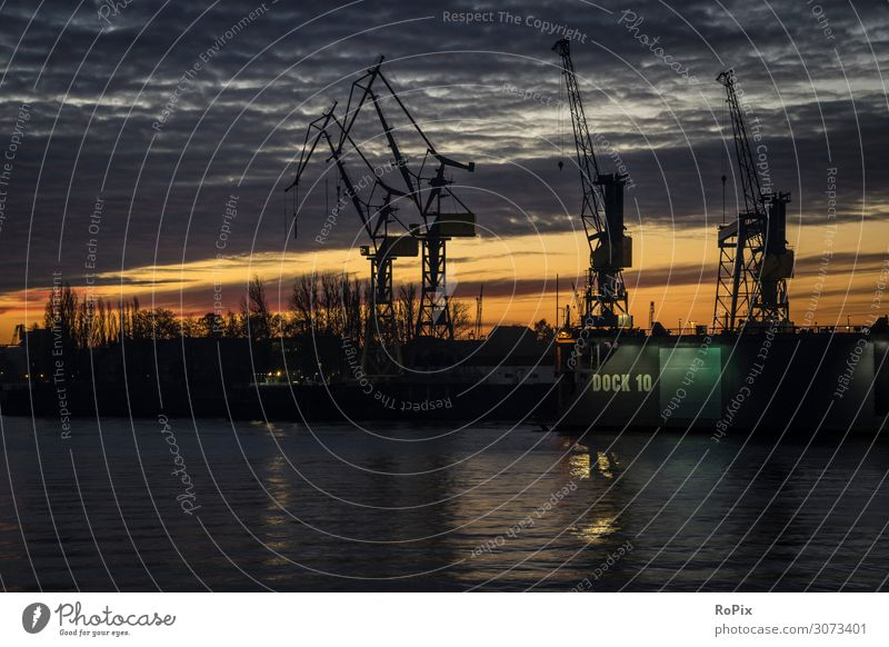 Early morning in the harbor of Hamburg. Vacation & Travel Nature Town Lifestyle Environment Style Business Tourism Work and employment Weather Industry Climate