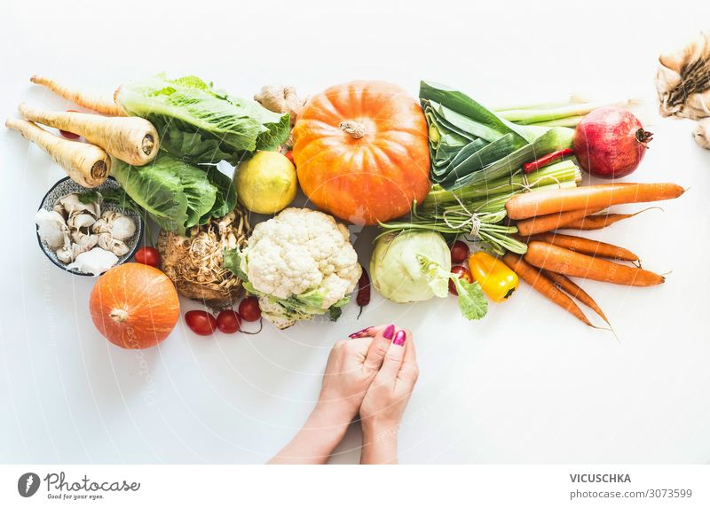 Women's hands, cat and organic vegetables Food Vegetable Shopping Design Healthy Eating Restaurant Human being Feminine Woman Adults Hand Background picture