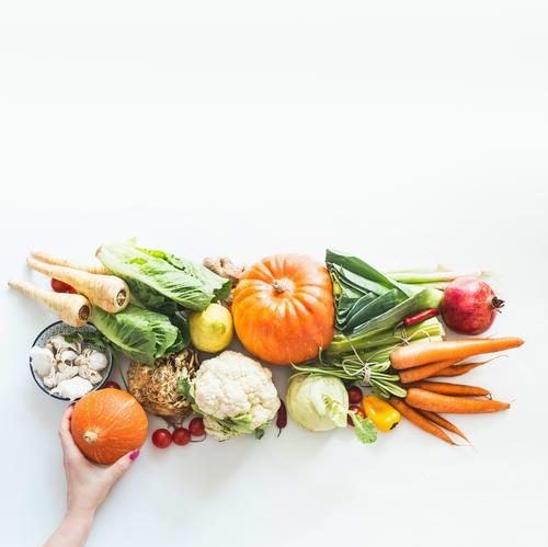 Organic vegetables and fruits of the season by hand Food Vegetable Fruit Apple Nutrition Shopping Design Healthy Eating Human being Feminine Woman Adults Hand