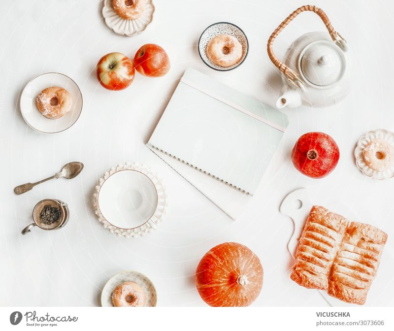Autumn Still Life with Tea Set, Pumpkin and Donuts Food Cake Nutrition Beverage Lifestyle Design Leisure and hobbies Living or residing Table Notebook