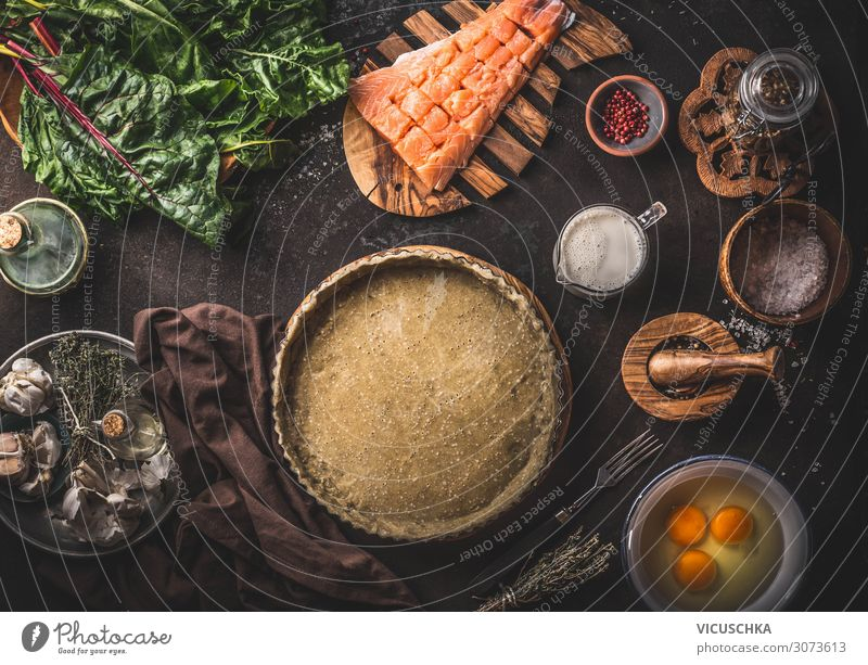 Dough in baking tin and ingredients for quiche Food Fish Vegetable Nutrition Crockery Style Table Restaurant Design Quiche Background picture Cooking Baking tin