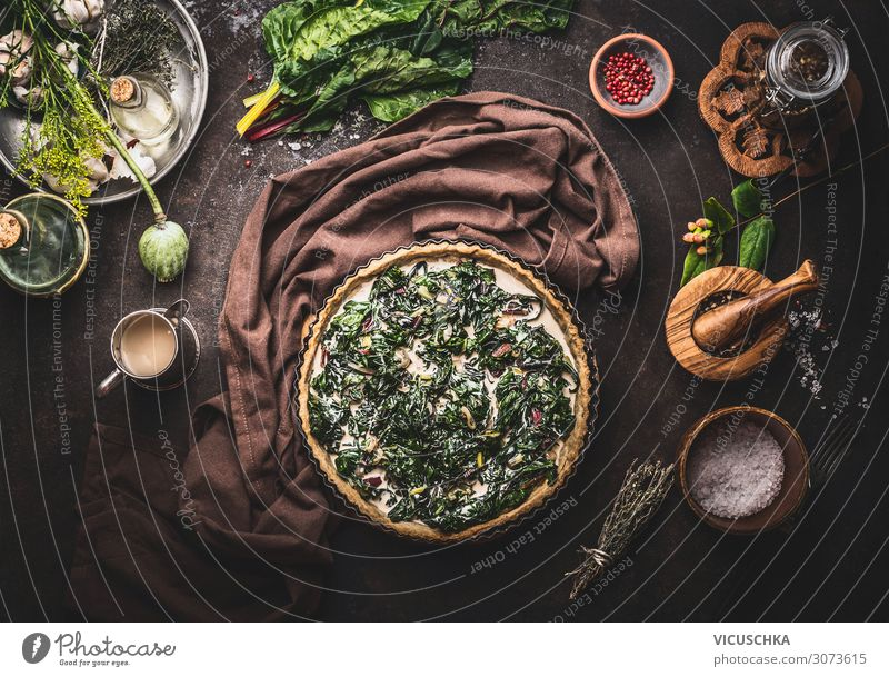 Quiche with chard vegetables Food Nutrition Crockery Style Design Healthy Eating Living or residing Background picture Cooking Mangold recipes Food photograph