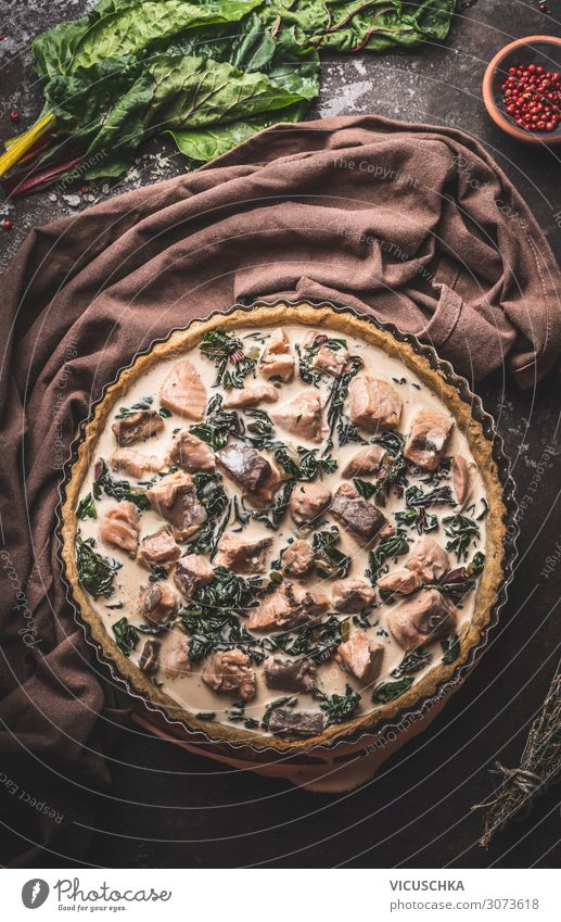Quiche with salmon and chard Preparation Food Nutrition Design Living or residing Table Restaurant Background picture Cooking Gourmet Salmon Mangold tart French