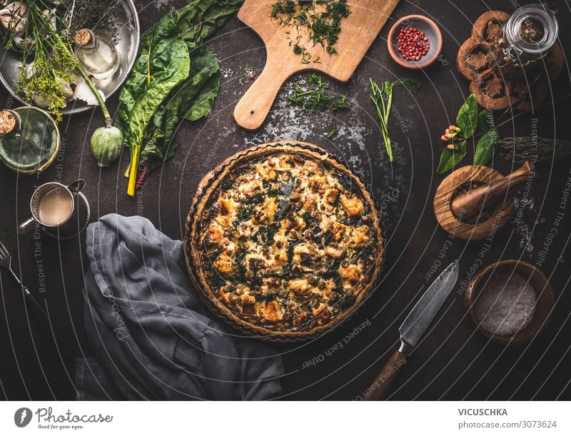 Quiche Lorraine salmon and chard Food Nutrition Crockery Design Style Background picture Cooking Salmon Mangold Kitchen Table Food photograph Eating