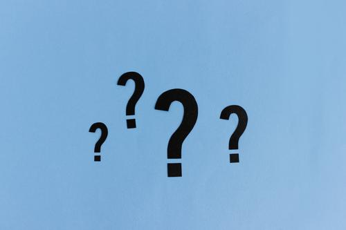 Many questions open | 4 question marks in different sizes Science & Research Academic studies Sign Blue Ask Advice Colour photo Abstract Studio shot