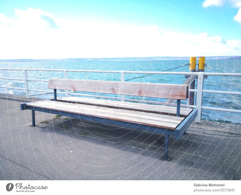 bench Lifestyle Calm Trip Freedom Sightseeing Nature Landscape Water Sky Horizon Sun Summer Lakeside To enjoy Vacation & Travel Looking Dream Infinity Natural