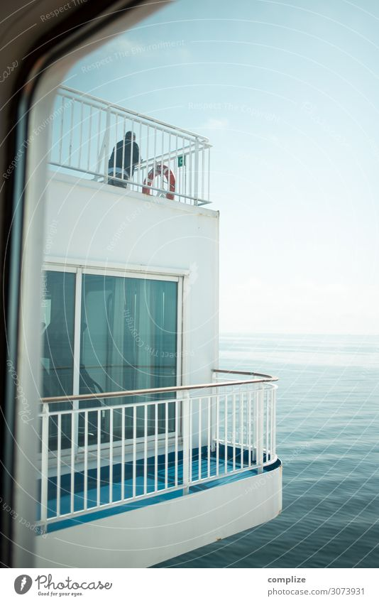 Balcony with sea Healthy Wellness Swimming & Bathing Vacation & Travel Tourism Freedom Cruise Summer Summer vacation Woman Adults Man Environment Nature Coast