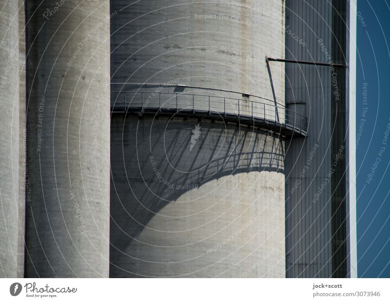 Industry shadow Beautiful weather Berlin Bridge Silo Wall (barrier) Wall (building) Footbridge Handrail Concrete Line Authentic Firm Large Tall Modern Above