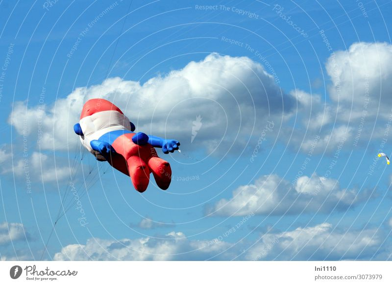 Dragon Smurf Event Kite festival Nature Air Clouds Summer Beautiful weather Blue Gray Red Black White Cloud formation smurf Inflated Hover Blue sky Figure