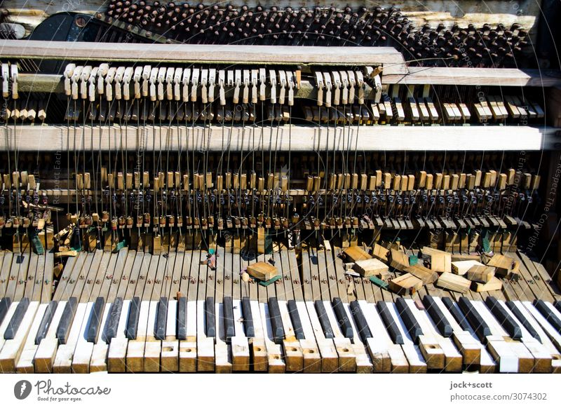 Music without notes lost places Keyboard Musical instrument string Piano Wood Stripe Sharp-edged Broken Trashy Many Moody Distress Perturbed Esthetic End