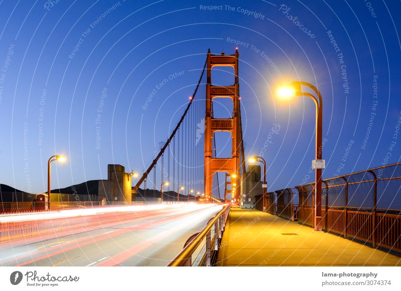 golden Vacation & Travel Freedom Night sky San Francisco San Francisco bay California USA Americas Bridge Manmade structures Architecture Tourist Attraction