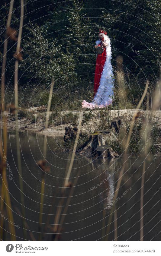 Woman Human being Nature Summer Adults Environment Feminine Coast Lake Clock Large Lakeside Dress Longing River bank Wig
