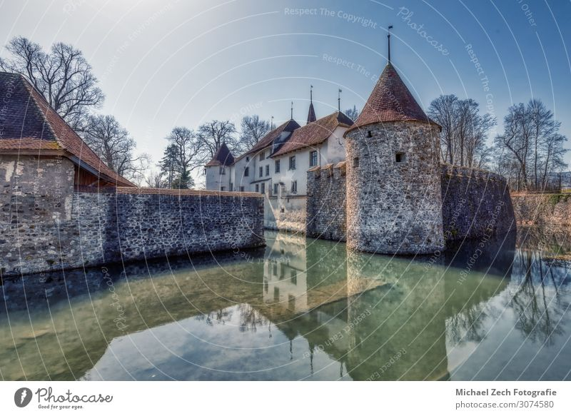 HDR shot of famous castle in hallwyl in switzerland Style Vacation & Travel Tourism Summer Sun House (Residential Structure) Nature Landscape Sky Lake River