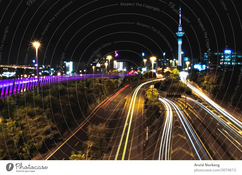 Long exposure of cars travelling in and out of Auckland, New Zealand abstract auckland background busy city cityscape driving illuminated light lights long