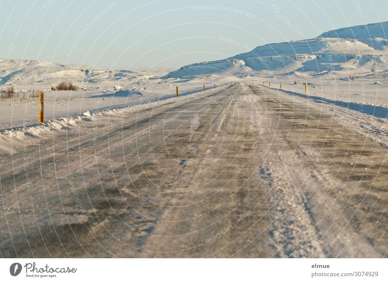 straight ahead Environment Landscape Winter Climate change Beautiful weather Snow Island Iceland Deserted Traffic infrastructure Street Right ahead
