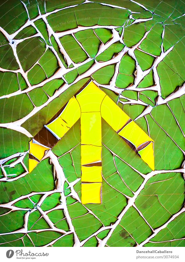 retro Arrow... Sign Signs and labeling Old Broken Retro Yellow Green Vintage Flake off Decline Direction Trend-setting Right ahead Above Varnish Colour Slivered
