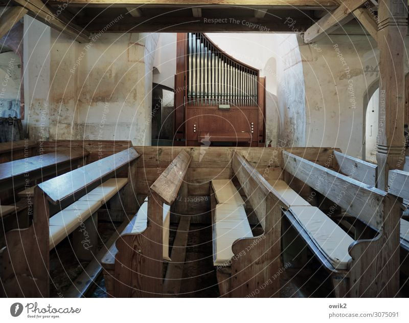 pedal point Organ Musical instrument Organ pipe Ullersdorf Saxony Lausitz forest Germany Wall (barrier) Wall (building) Church pew Joist Stone Wood Metal Old