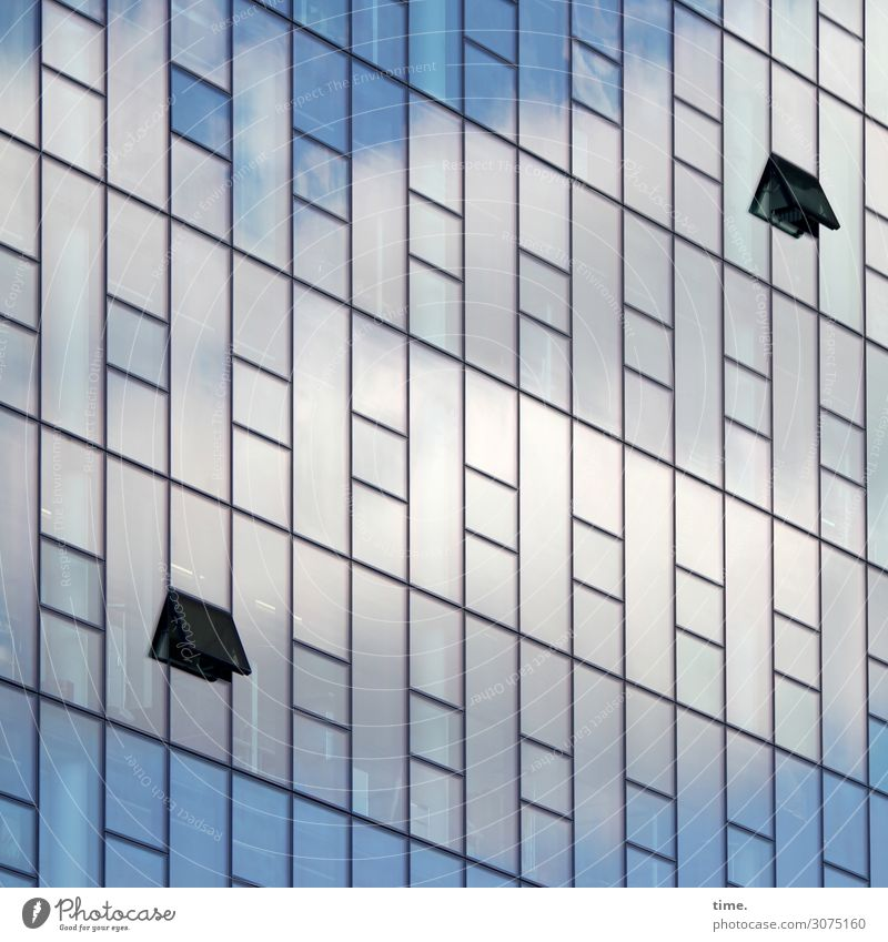 Oberstübchenlüftung (small version) Sky Clouds Hamburg Downtown House (Residential Structure) High-rise Architecture Office building Facade Window Glass Metal