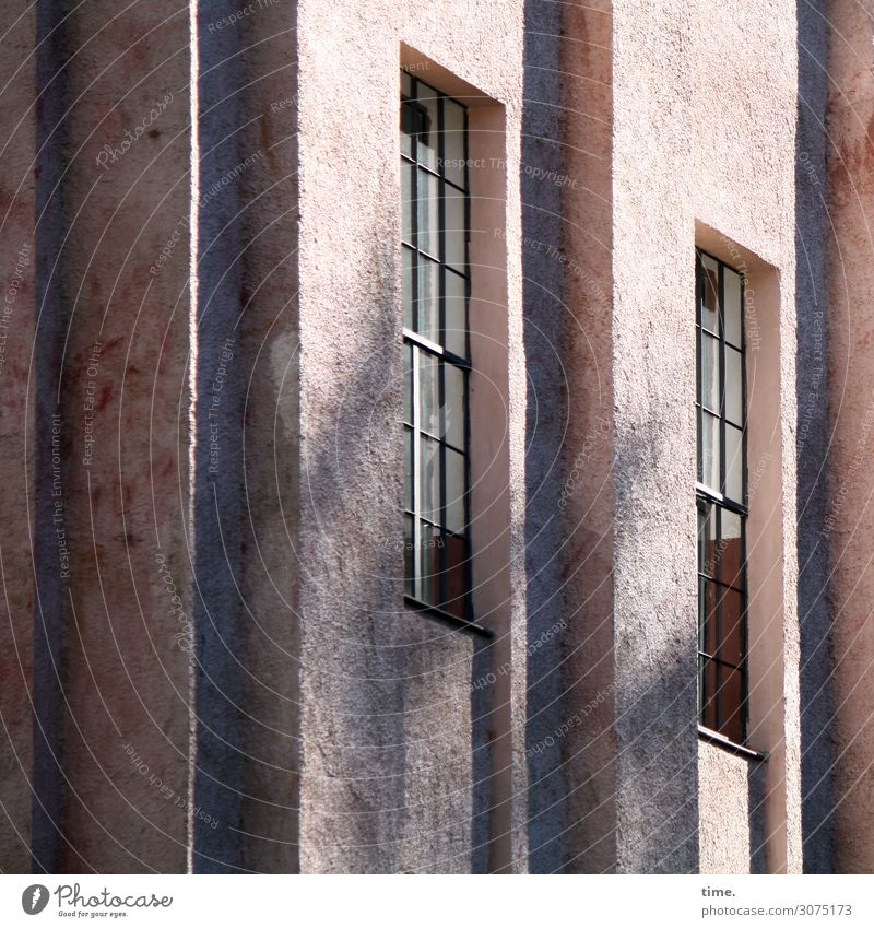 Town House (Residential Structure) Calm Window Dark Architecture Building Stone Facade Pink Bright Glass Gloomy Tall Historic Concrete
