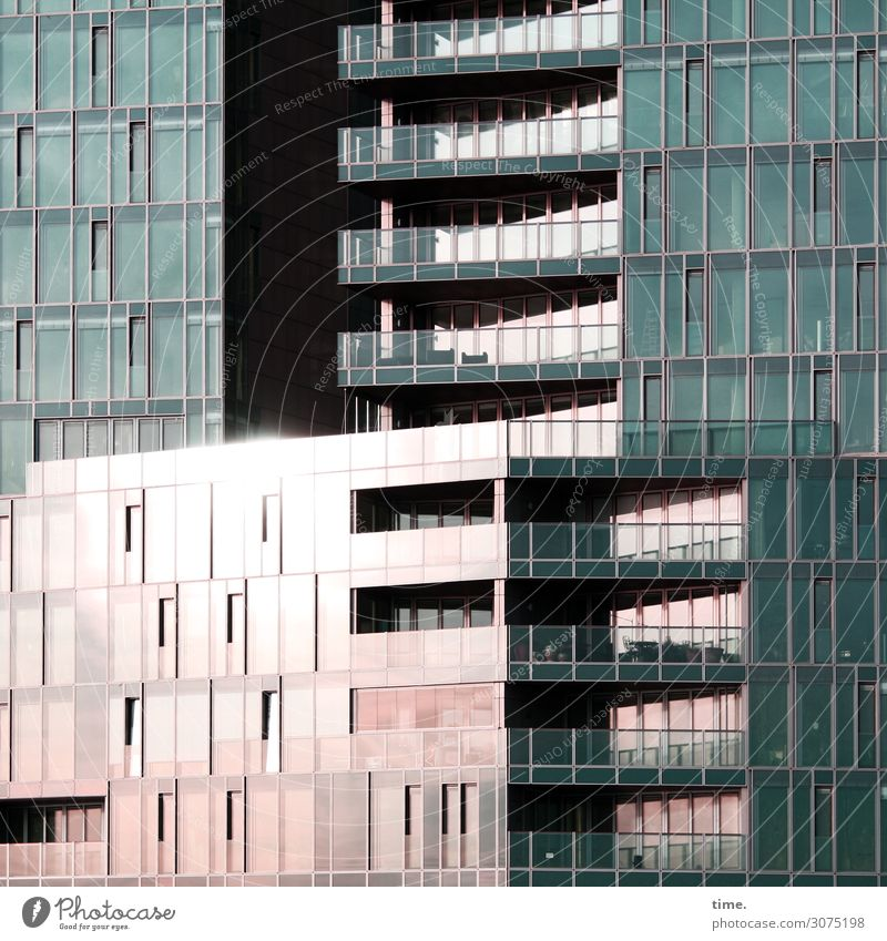 glass container Hamburg Harbor city House (Residential Structure) High-rise Manmade structures Building Architecture Facade Window Packaging Glass Line Stripe