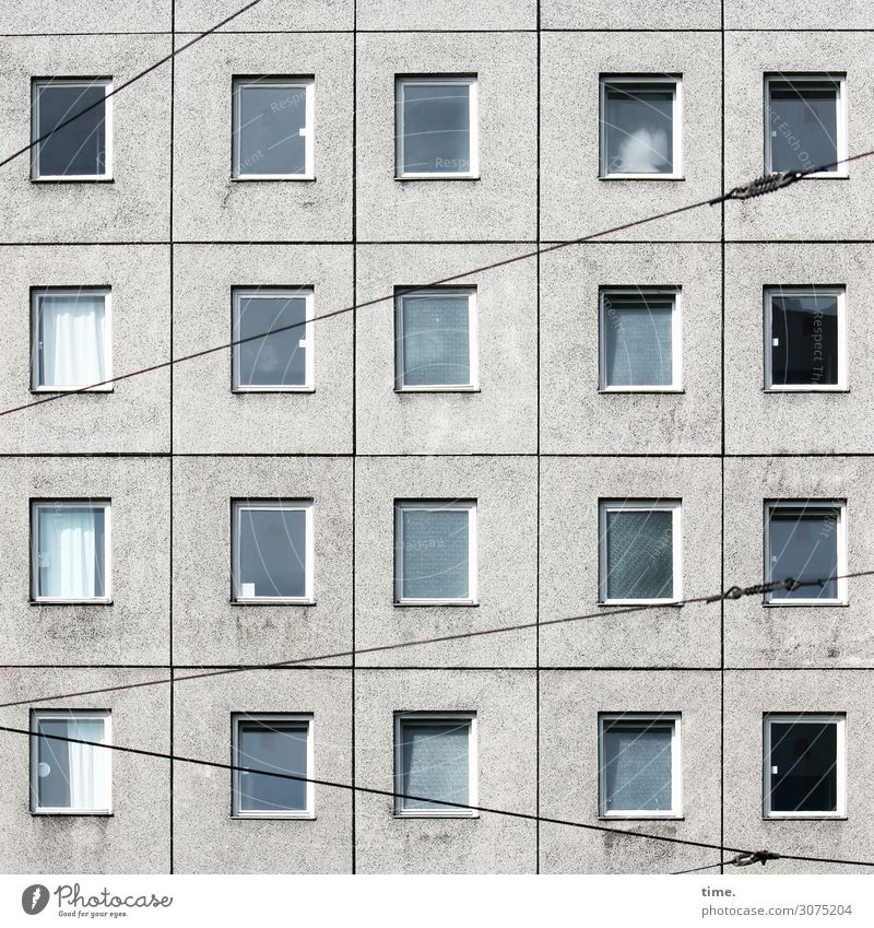 Town House (Residential Structure) Loneliness Window Berlin Stone Facade Design Bright Line Transport High-rise Technology Gloomy Concrete Safety